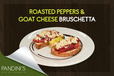 Roasted peppers & goats cheese bruschetta